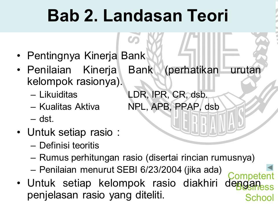 Bab 2. Landasan Teori Pentingnya Kinerja Bank Penilaian Kinerja Bank (perhatikan urutan kelompok rasionya). –LikuiditasLDR, IPR, CR, dsb. –Kualitas Ak