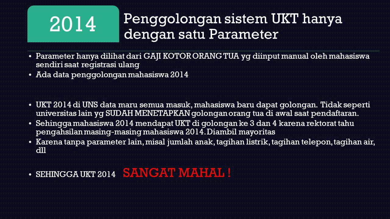 Penggolongan sistem UKT hanya dengan satu Parameter 2014 Parameter hanya dilihat dari GAJI KOTOR ORANG TUA yg diinput manual oleh mahasiswa sendiri sa