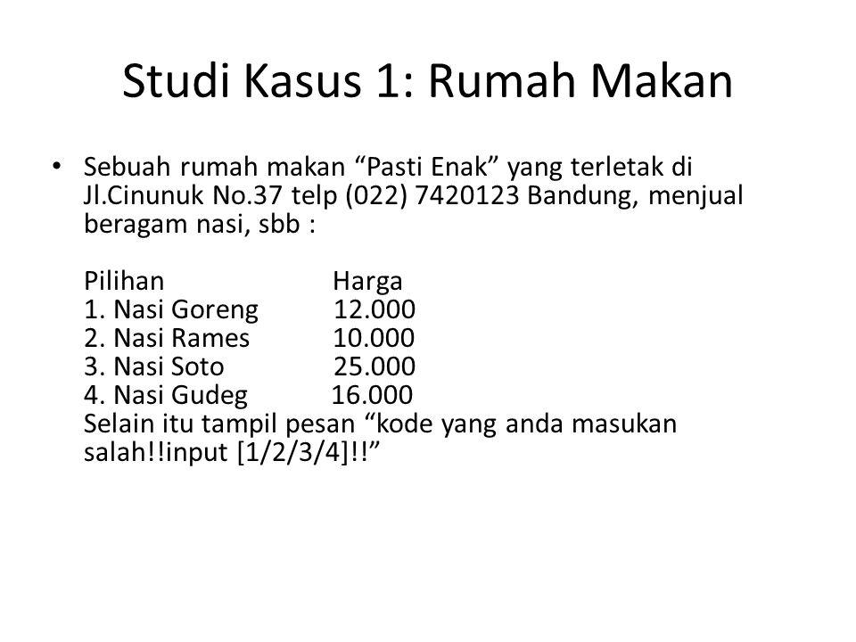 Studi Kasus 1: Rumah Makan Sebuah rumah makan Pasti Enak yang terletak di Jl.Cinunuk No.37 telp (022) 7420123 Bandung, menjual beragam nasi, sbb : Pilihan Harga 1.