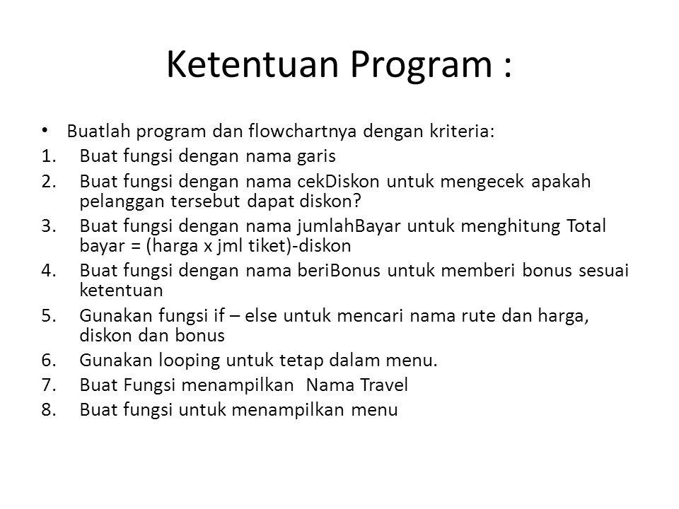 Ketentuan Program : Buatlah program dan flowchartnya dengan kriteria: 1.Buat fungsi dengan nama garis 2.Buat fungsi dengan nama cekDiskon untuk mengecek apakah pelanggan tersebut dapat diskon.