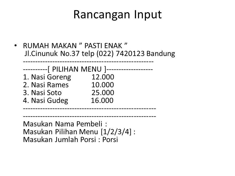 Studi Kasus 7: Travel Sebuah perusahaan travel Elektro Trans di Bandung melayani rute sebagai berikut: Rute Harga tiket 1.
