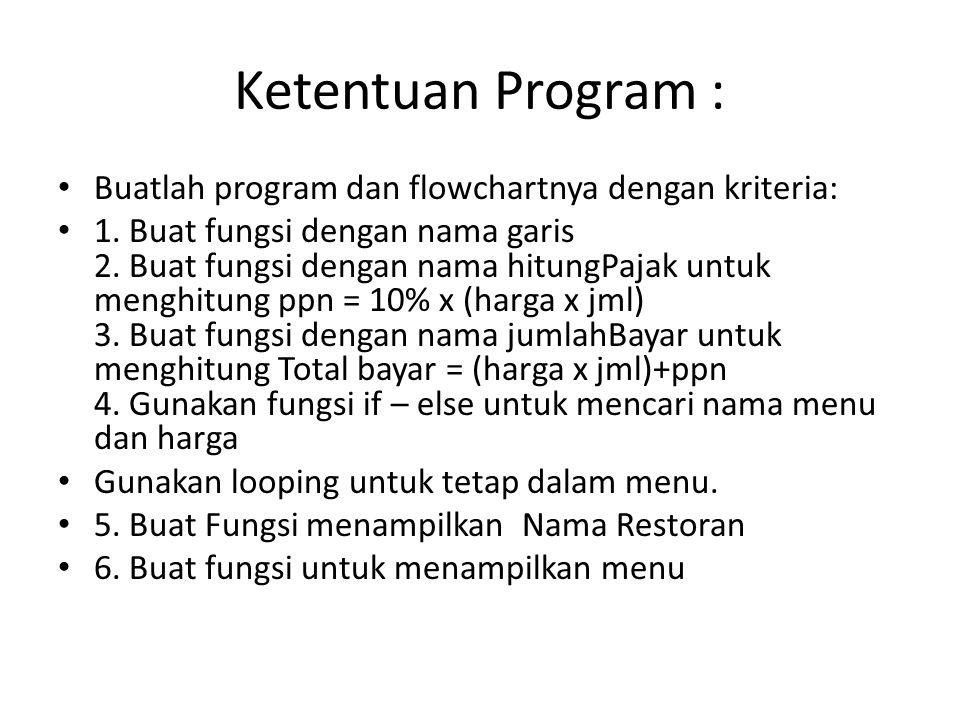 Ketentuan Program : Buatlah program dan flowchartnya dengan kriteria: 1.