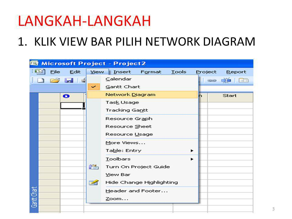 LANGKAH-LANGKAH 1.KLIK VIEW BAR PILIH NETWORK DIAGRAM 3