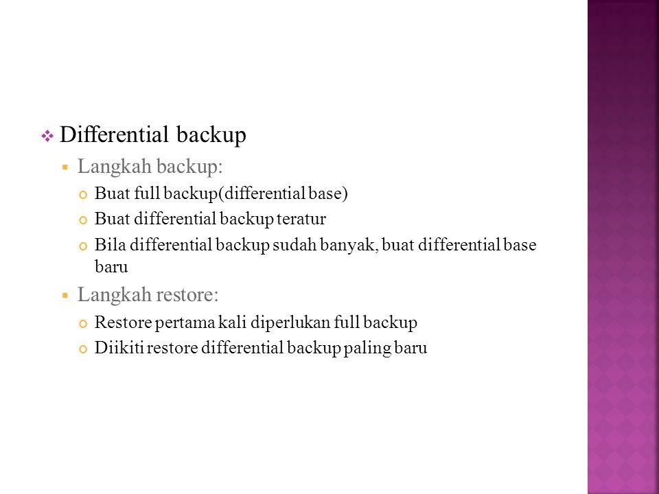  Differential backup  Langkah backup: Buat full backup(differential base) Buat differential backup teratur Bila differential backup sudah banyak, buat differential base baru  Langkah restore: Restore pertama kali diperlukan full backup Diikiti restore differential backup paling baru