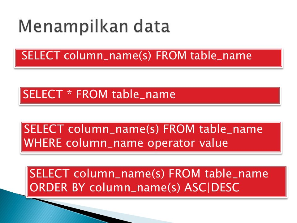 SELECT column_name(s) FROM table_name SELECT * FROM table_name SELECT column_name(s) FROM table_name WHERE column_name operator value SELECT column_na
