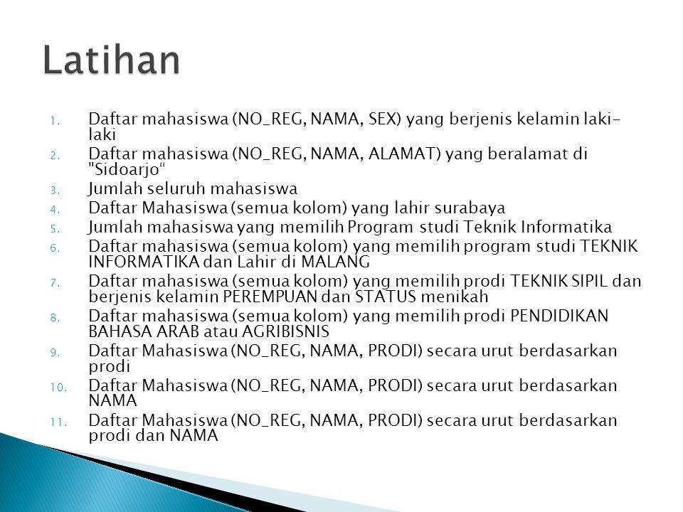 1. Daftar mahasiswa (NO_REG, NAMA, SEX) yang berjenis kelamin laki- laki 2. Daftar mahasiswa (NO_REG, NAMA, ALAMAT) yang beralamat di