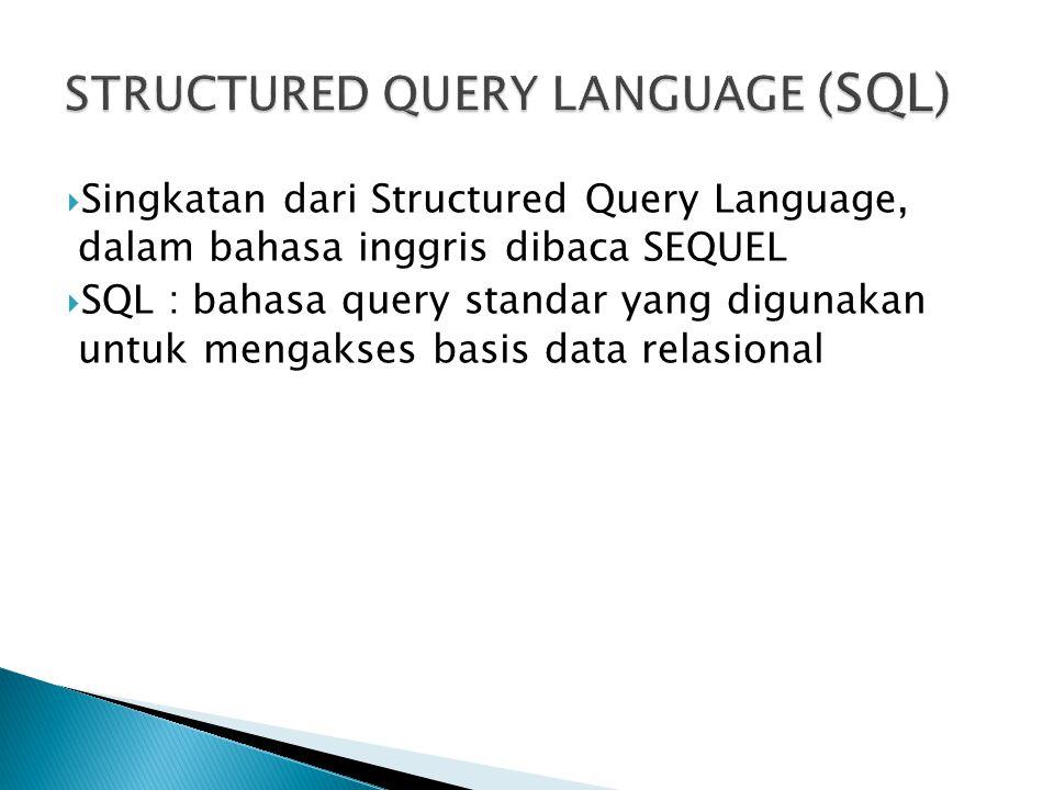  Pendefinisian struktur data (contoh: create table, create view, dll)  Pengubahan data (contoh: update data)  Manipulasi data / memperoleh data  Pengaturan sekuritas