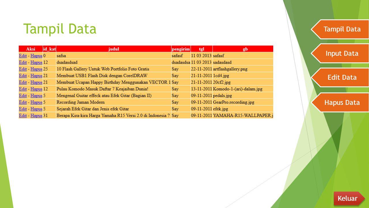 Pastikan bahwa xampp (apache dan Mysql sudah Running), Koneksi sudah benar serta database telah konek Tampil Data Input Data Edit Data Hapus Data Keluar