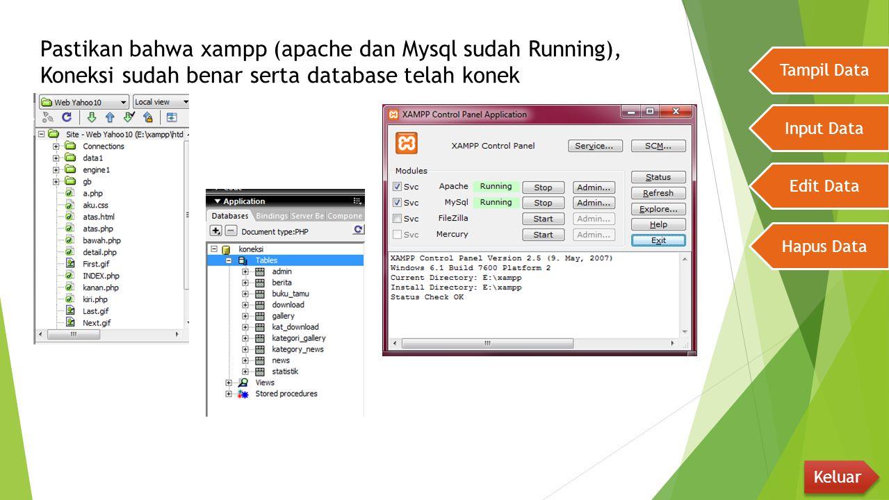 Pastikan bahwa xampp (apache dan Mysql sudah Running), Koneksi sudah benar serta database telah konek Tampil Data Input Data Edit Data Hapus Data Kelu