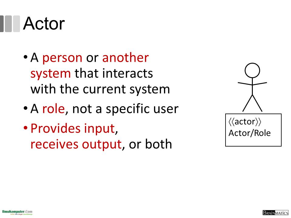 Actor A person or another system that interacts with the current system A role, not a specific user Provides input, receives output, or both  actor  Actor/Role