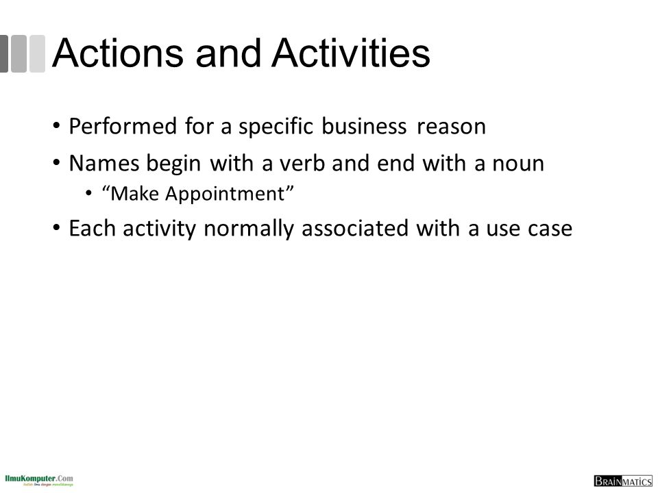 Actions and Activities Performed for a specific business reason Names begin with a verb and end with a noun Make Appointment Each activity normally associated with a use case