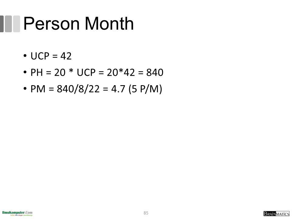Person Month UCP = 42 PH = 20 * UCP = 20*42 = 840 PM = 840/8/22 = 4.7 (5 P/M) 85