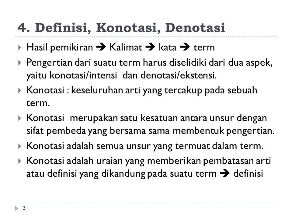 4. Definisi, Konotasi, Denotasi 21  Hasil pemikiran  Kalimat  kata  term  Pengertian dari suatu term harus diselidiki dari dua aspek, yaitu konot