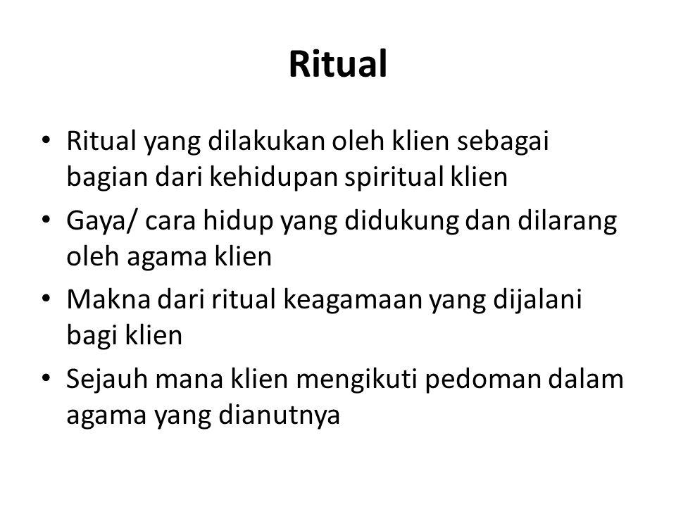 Ritual Ritual yang dilakukan oleh klien sebagai bagian dari kehidupan spiritual klien Gaya/ cara hidup yang didukung dan dilarang oleh agama klien Mak