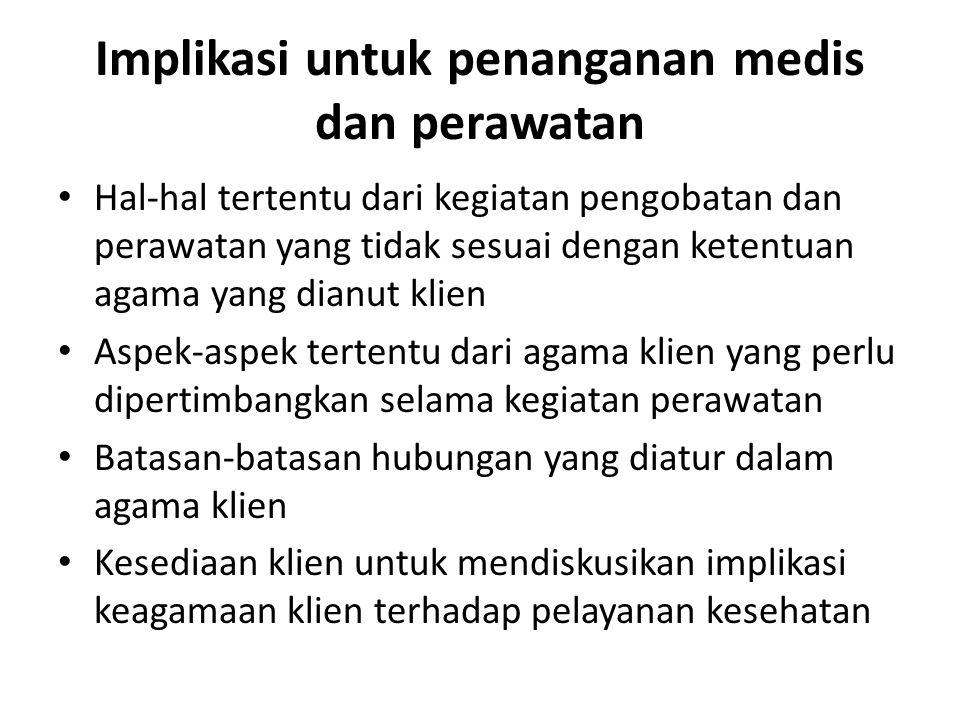 Implikasi untuk penanganan medis dan perawatan Hal-hal tertentu dari kegiatan pengobatan dan perawatan yang tidak sesuai dengan ketentuan agama yang d