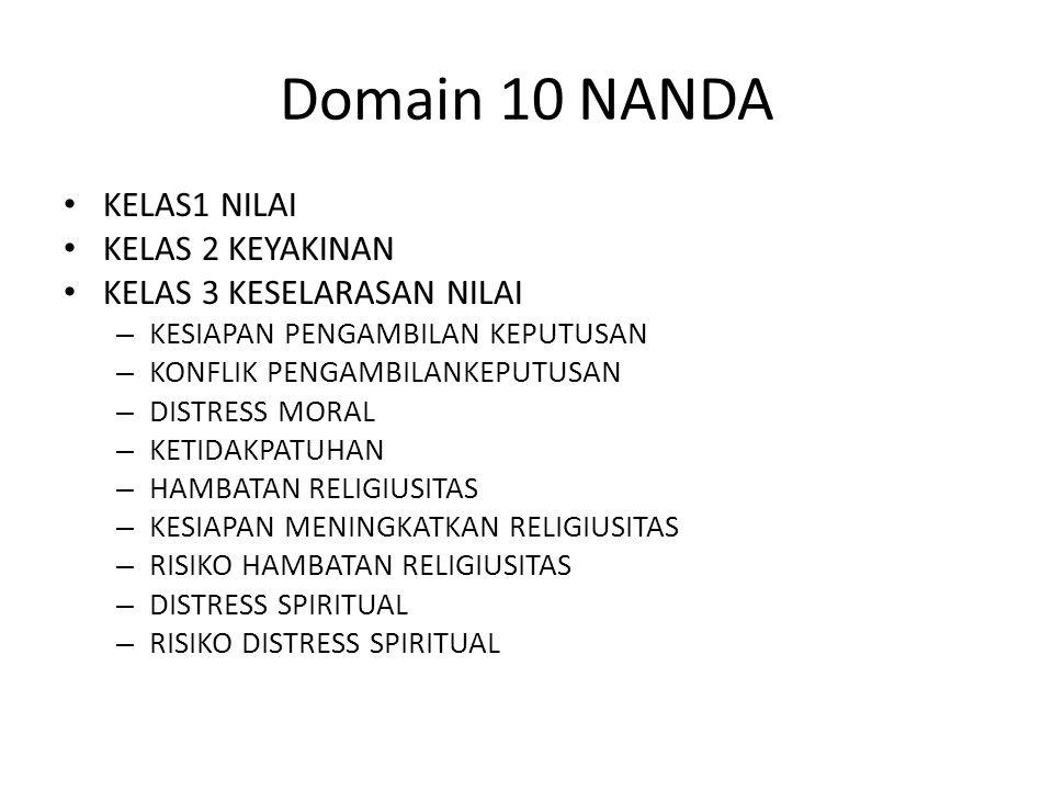 Domain 10 NANDA KELAS1 NILAI KELAS 2 KEYAKINAN KELAS 3 KESELARASAN NILAI – KESIAPAN PENGAMBILAN KEPUTUSAN – KONFLIK PENGAMBILANKEPUTUSAN – DISTRESS MO