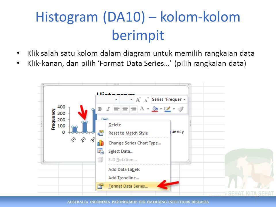 AUSTRALIA INDONESIA PARTNERSHIP FOR EMERGING INFECTIOUS DISEASES Histogram (DA10) – kolom-kolom berimpit Klik salah satu kolom dalam diagram untuk memilih rangkaian data Klik-kanan, dan pilih 'Format Data Series…' (pilih rangkaian data) 17