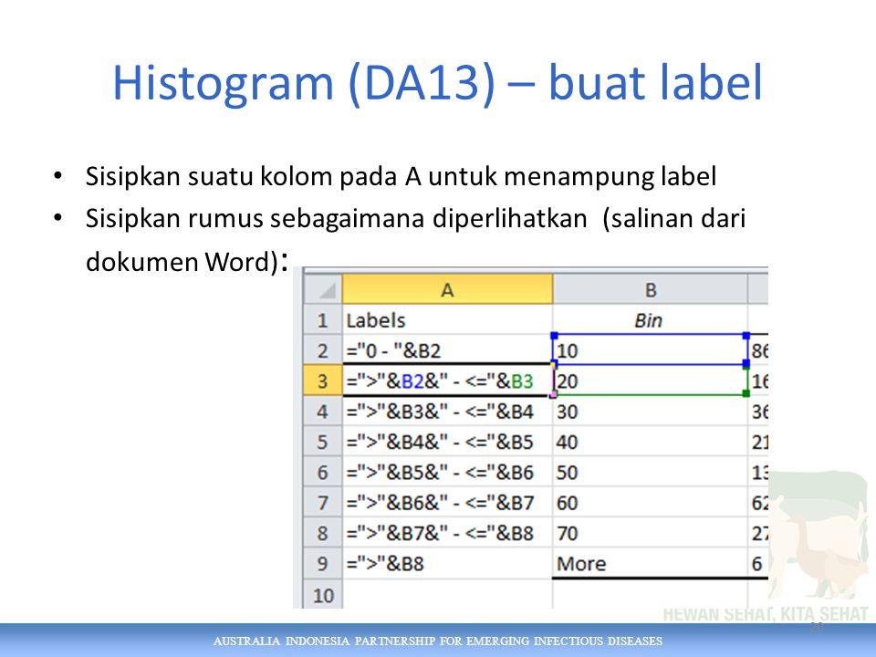AUSTRALIA INDONESIA PARTNERSHIP FOR EMERGING INFECTIOUS DISEASES Histogram (DA13) – buat label Sisipkan suatu kolom pada A untuk menampung label Sisipkan rumus sebagaimana diperlihatkan (salinan dari dokumen Word) : 20