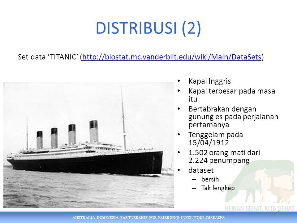 AUSTRALIA INDONESIA PARTNERSHIP FOR EMERGING INFECTIOUS DISEASES DISTRIBUSI (2) Set data 'TITANIC' (http://biostat.mc.vanderbilt.edu/wiki/Main/DataSets)http://biostat.mc.vanderbilt.edu/wiki/Main/DataSets Kapal Inggris Kapal terbesar pada masa itu Bertabrakan dengan gunung es pada perjalanan pertamanya Tenggelam pada 15/04/1912 1.502 orang mati dari 2.224 penumpang dataset – bersih – Tak lengkap 4