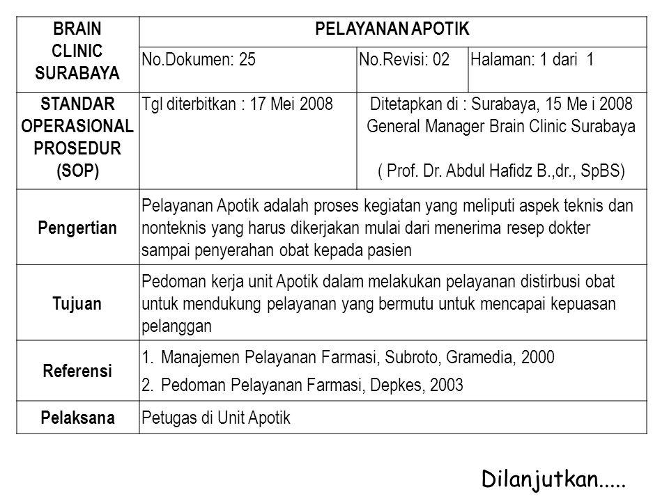 BRAIN CLINIC SURABAYA PELAYANAN APOTIK No.Dokumen: 25No.Revisi: 02Halaman: 1 dari 1 STANDAR OPERASIONAL PROSEDUR (SOP) Tgl diterbitkan : 17 Mei 2008Di