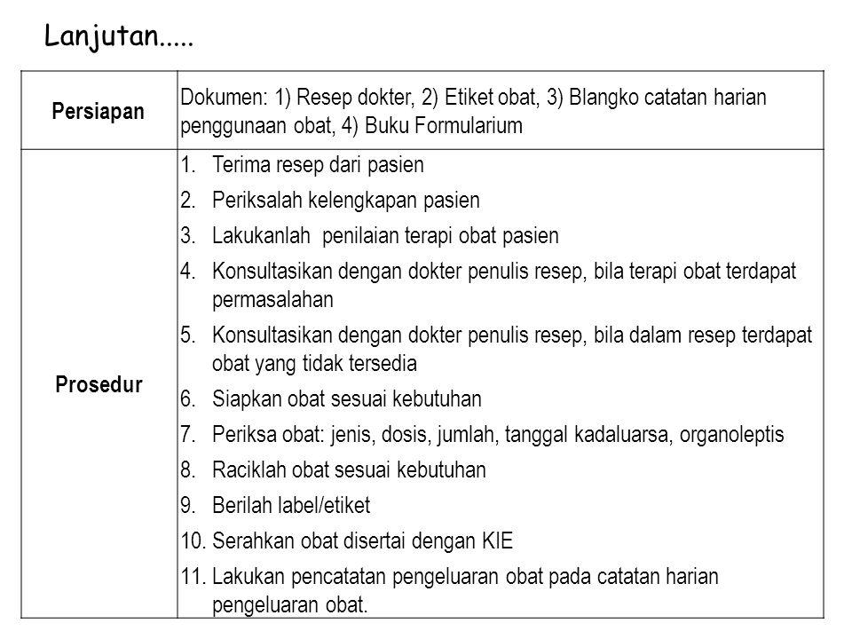 Persiapan Dokumen: 1) Resep dokter, 2) Etiket obat, 3) Blangko catatan harian penggunaan obat, 4) Buku Formularium Prosedur 1.Terima resep dari pasien