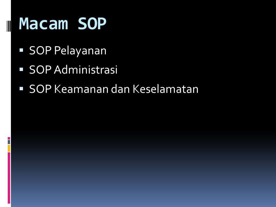 Macam SOP  SOP Pelayanan  SOP Administrasi  SOP Keamanan dan Keselamatan