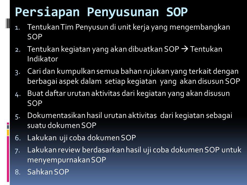 Persiapan Penyusunan SOP 1. Tentukan Tim Penyusun di unit kerja yang mengembangkan SOP 2. Tentukan kegiatan yang akan dibuatkan SOP  Tentukan Indikat