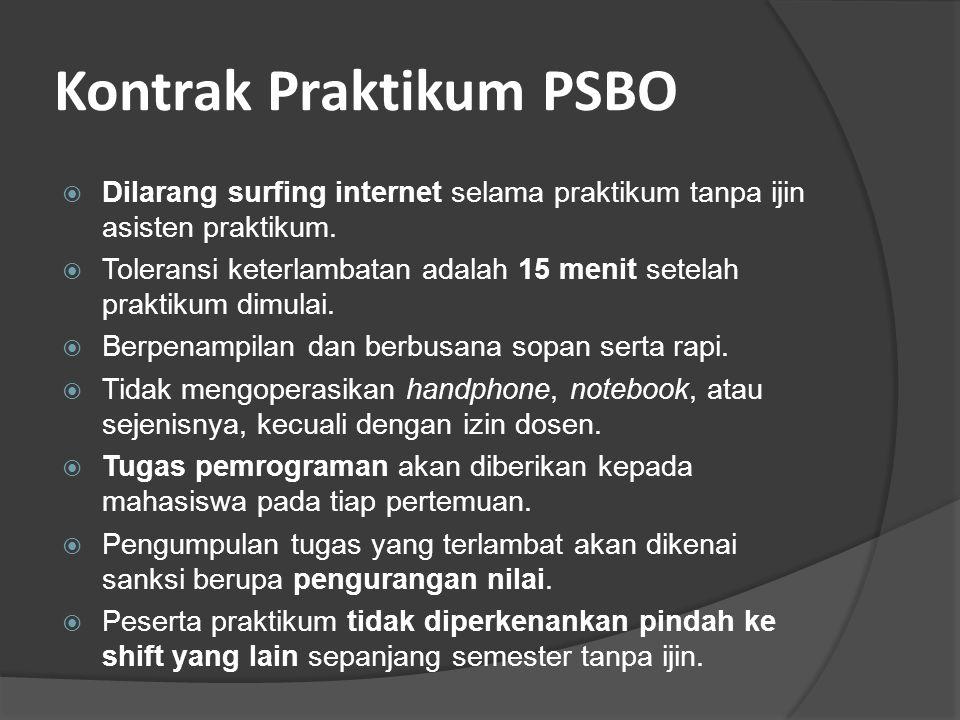 Kontrak Praktikum PSBO  Dilarang surfing internet selama praktikum tanpa ijin asisten praktikum.