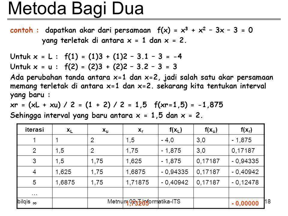 Metnum 02-T.Informatika-ITSbilqis18 Metoda Bagi Dua contoh : dapatkan akar dari persamaan f(x) = x 3 + x 2 – 3x – 3 = 0 yang terletak di antara x = 1