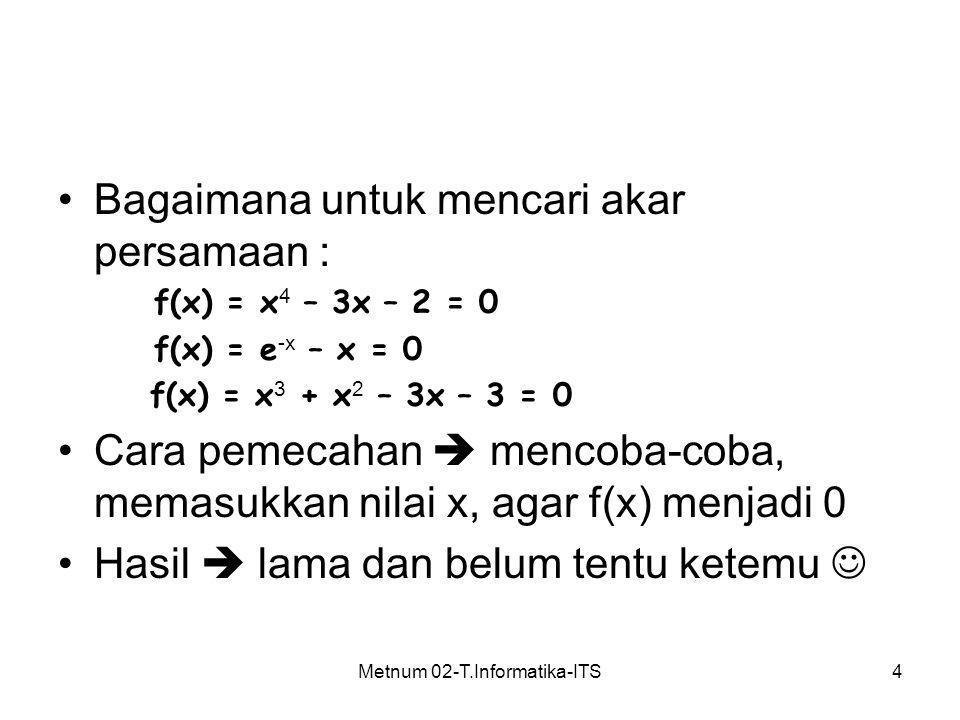 Metnum 02-T.Informatika-ITS4 Bagaimana untuk mencari akar persamaan : f(x) = x 4 – 3x – 2 = 0 f(x) = e -x – x = 0 f(x) = x 3 + x 2 – 3x – 3 = 0 Cara p
