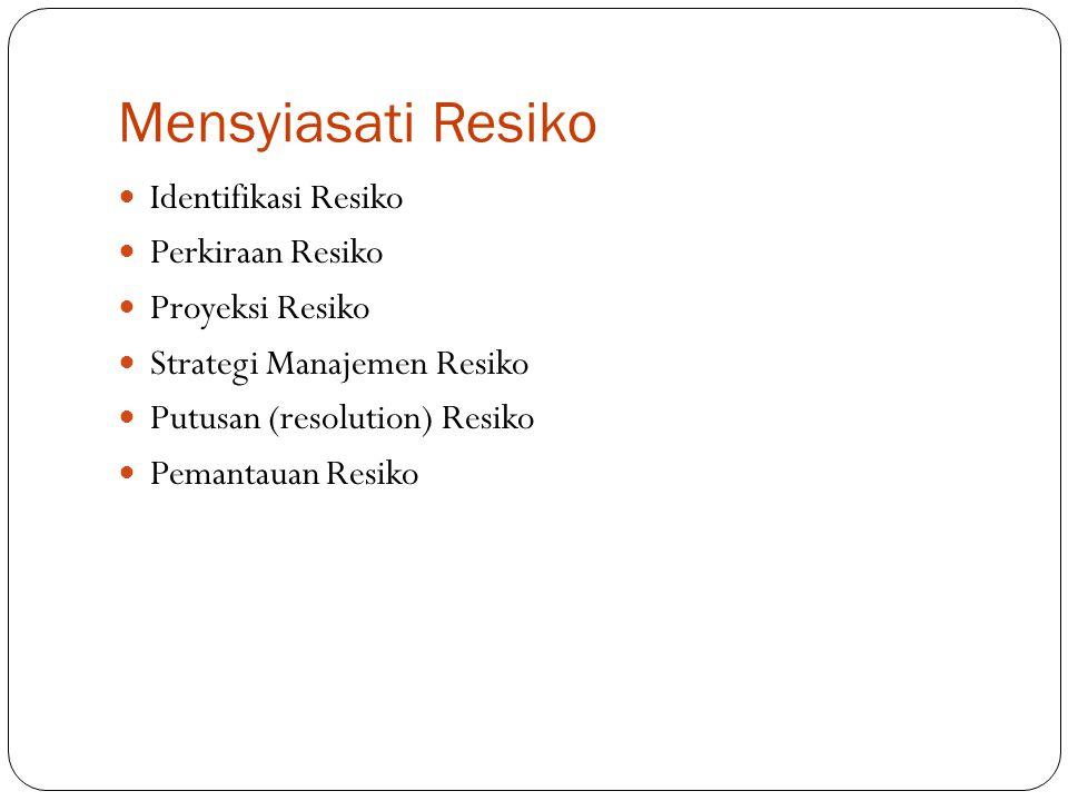 Mensyiasati Resiko Identifikasi Resiko Perkiraan Resiko Proyeksi Resiko Strategi Manajemen Resiko Putusan (resolution) Resiko Pemantauan Resiko