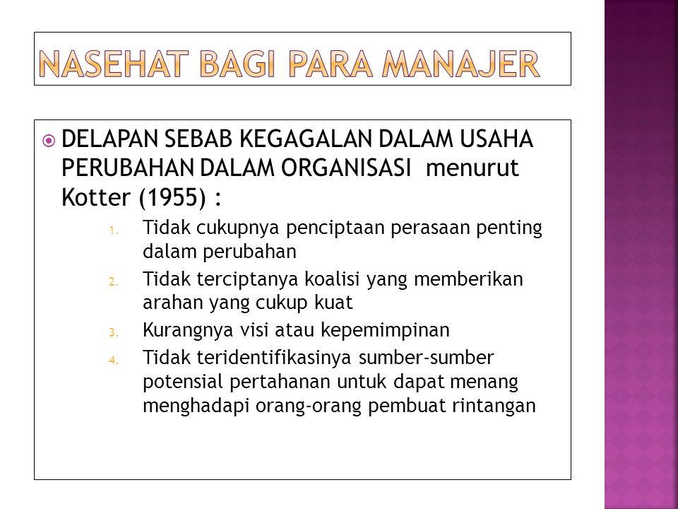  DELAPAN SEBAB KEGAGALAN DALAM USAHA PERUBAHAN DALAM ORGANISASI menurut Kotter (1955) : 1.