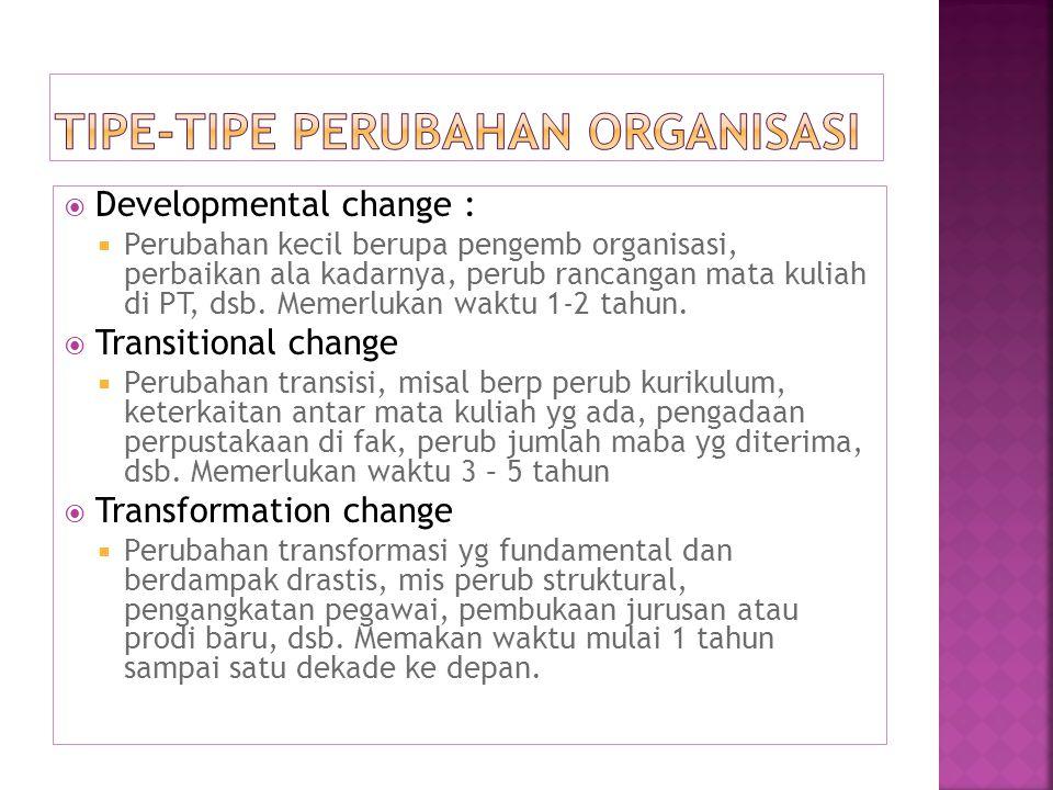  Developmental change :  Perubahan kecil berupa pengemb organisasi, perbaikan ala kadarnya, perub rancangan mata kuliah di PT, dsb.