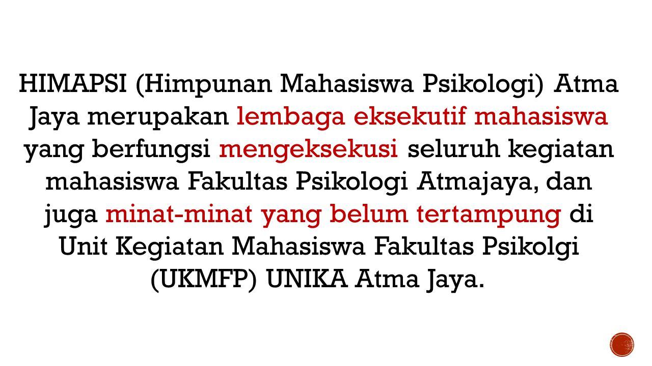HIMAPSI (Himpunan Mahasiswa Psikologi) Atma Jaya merupakan lembaga eksekutif mahasiswa yang berfungsi mengeksekusi seluruh kegiatan mahasiswa Fakultas Psikologi Atmajaya, dan juga minat-minat yang belum tertampung di Unit Kegiatan Mahasiswa Fakultas Psikolgi (UKMFP) UNIKA Atma Jaya.