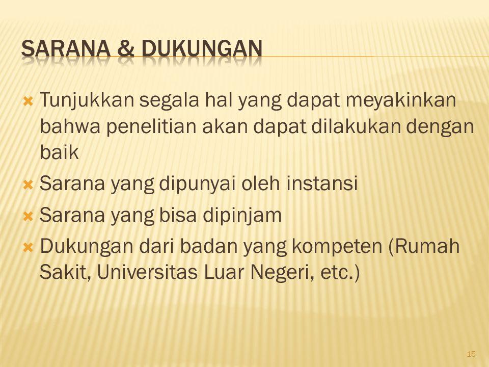  Tunjukkan segala hal yang dapat meyakinkan bahwa penelitian akan dapat dilakukan dengan baik  Sarana yang dipunyai oleh instansi  Sarana yang bisa dipinjam  Dukungan dari badan yang kompeten (Rumah Sakit, Universitas Luar Negeri, etc.) 15