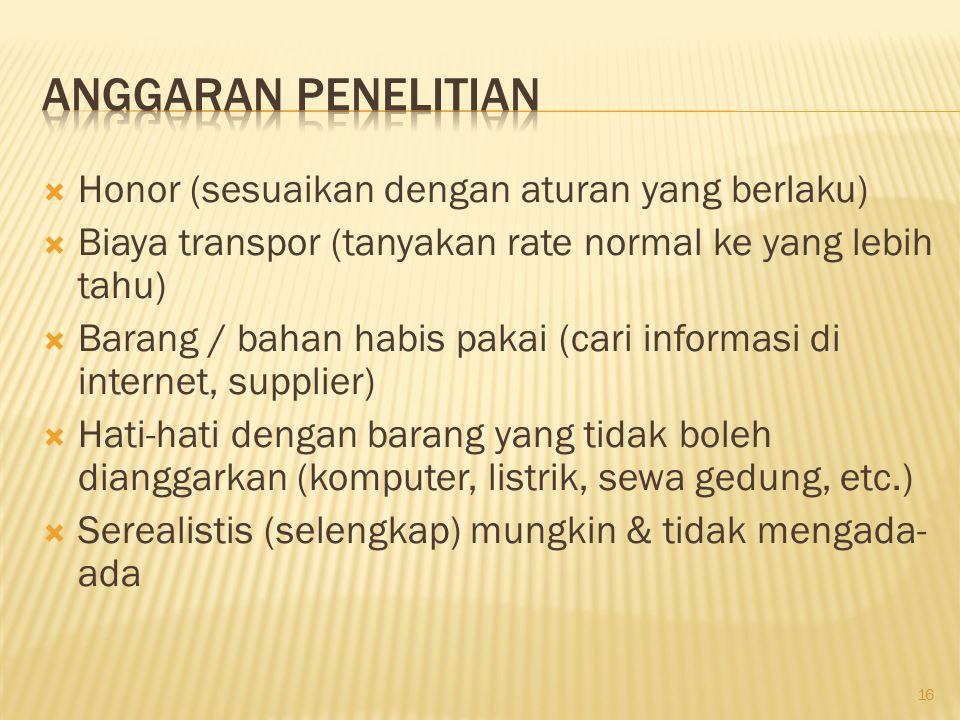  Honor (sesuaikan dengan aturan yang berlaku)  Biaya transpor (tanyakan rate normal ke yang lebih tahu)  Barang / bahan habis pakai (cari informasi