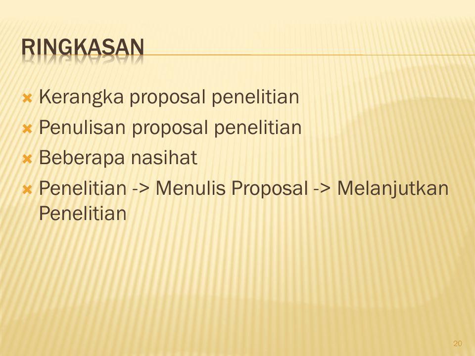  Kerangka proposal penelitian  Penulisan proposal penelitian  Beberapa nasihat  Penelitian -> Menulis Proposal -> Melanjutkan Penelitian 20