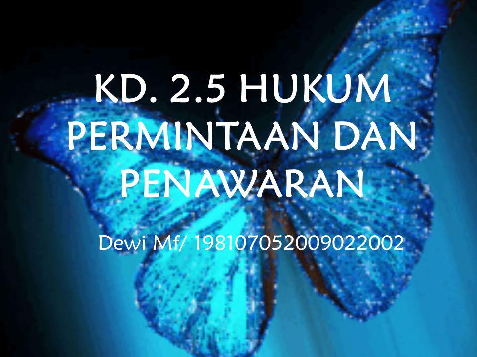 KD. 2.5 HUKUM PERMINTAAN DAN PENAWARAN Dewi Mf/ 198107052009022002