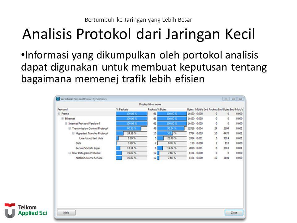 Bertumbuh ke Jaringan yang Lebih Besar Analisis Protokol dari Jaringan Kecil Informasi yang dikumpulkan oleh portokol analisis dapat digunakan untuk m