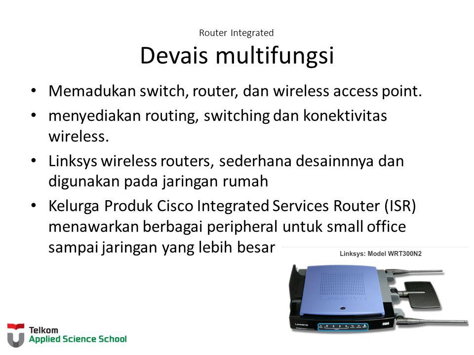 Router Integrated Devais multifungsi Memadukan switch, router, dan wireless access point. menyediakan routing, switching dan konektivitas wireless. Li