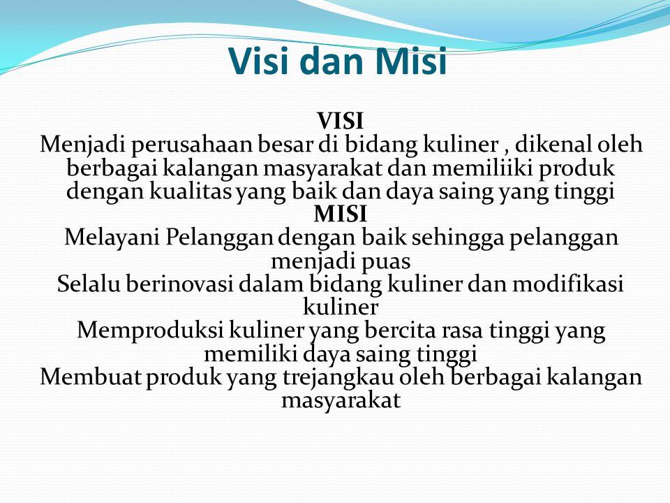 Visi dan Misi VISI Menjadi perusahaan besar di bidang kuliner, dikenal oleh berbagai kalangan masyarakat dan memiliiki produk dengan kualitas yang bai