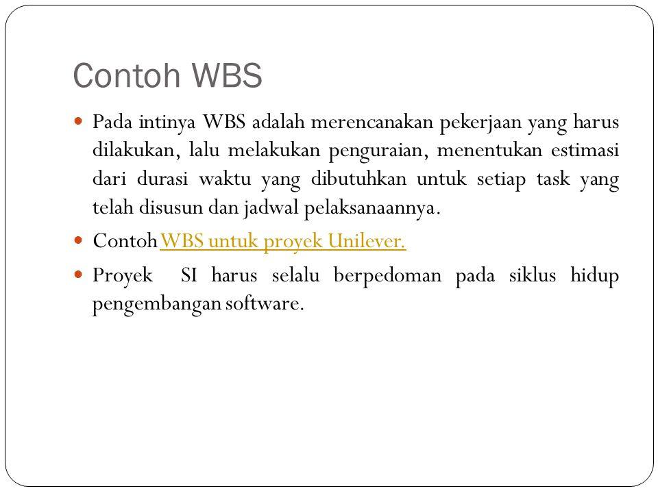Contoh WBS Pada intinya WBS adalah merencanakan pekerjaan yang harus dilakukan, lalu melakukan penguraian, menentukan estimasi dari durasi waktu yang