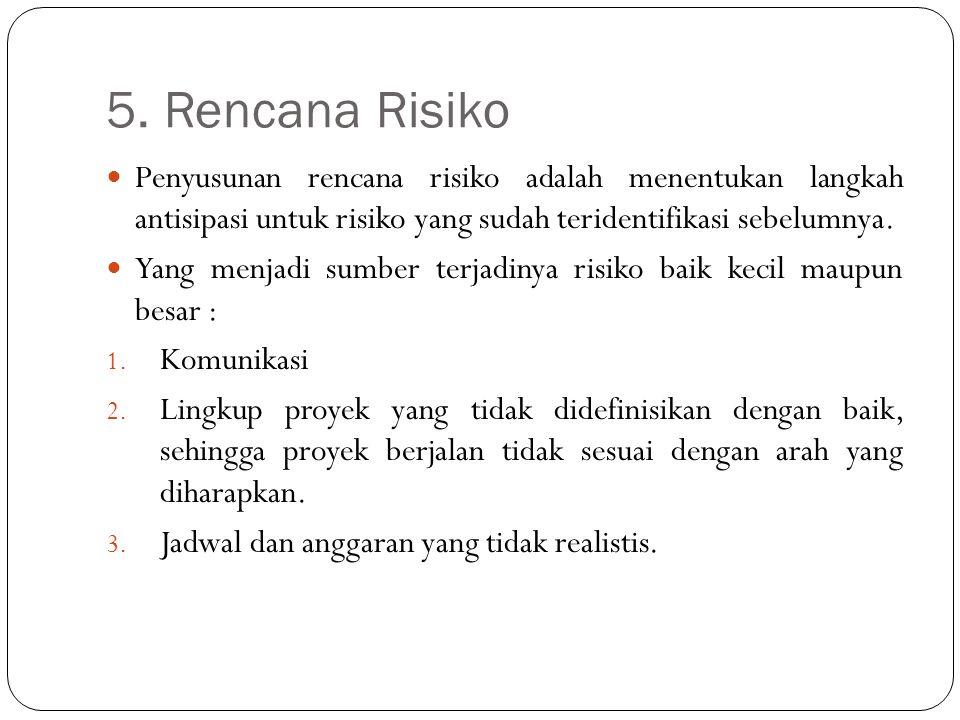 5. Rencana Risiko Penyusunan rencana risiko adalah menentukan langkah antisipasi untuk risiko yang sudah teridentifikasi sebelumnya. Yang menjadi sumb