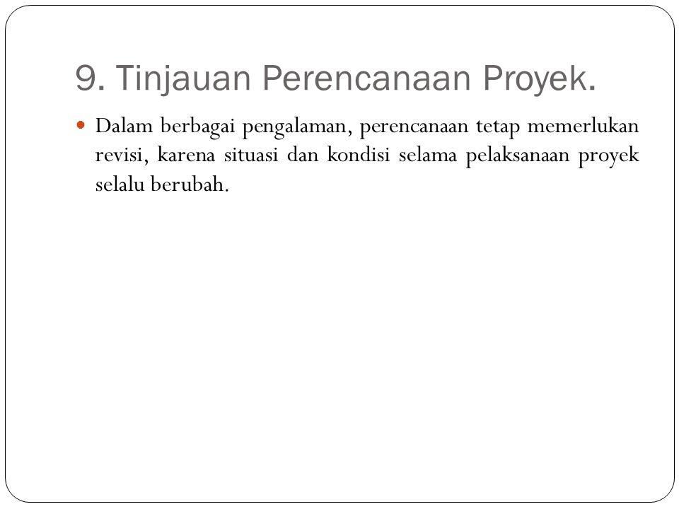 9. Tinjauan Perencanaan Proyek. Dalam berbagai pengalaman, perencanaan tetap memerlukan revisi, karena situasi dan kondisi selama pelaksanaan proyek s