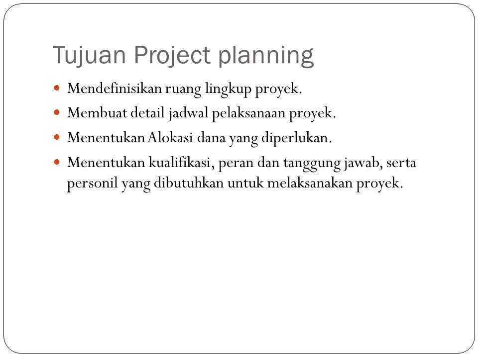 Tujuan Project planning Mendefinisikan ruang lingkup proyek. Membuat detail jadwal pelaksanaan proyek. Menentukan Alokasi dana yang diperlukan. Menent