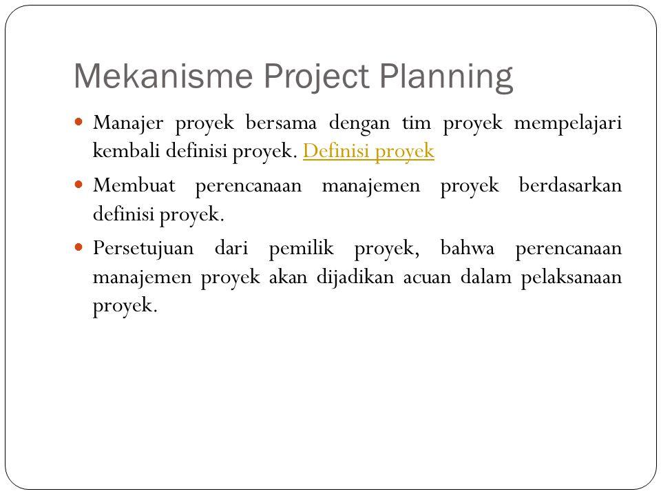 Mekanisme Project Planning Manajer proyek bersama dengan tim proyek mempelajari kembali definisi proyek. Definisi proyekDefinisi proyek Membuat perenc