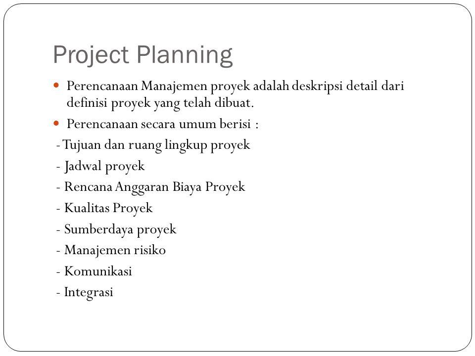 Project Planning Perencanaan Manajemen proyek adalah deskripsi detail dari definisi proyek yang telah dibuat. Perencanaan secara umum berisi : - Tujua