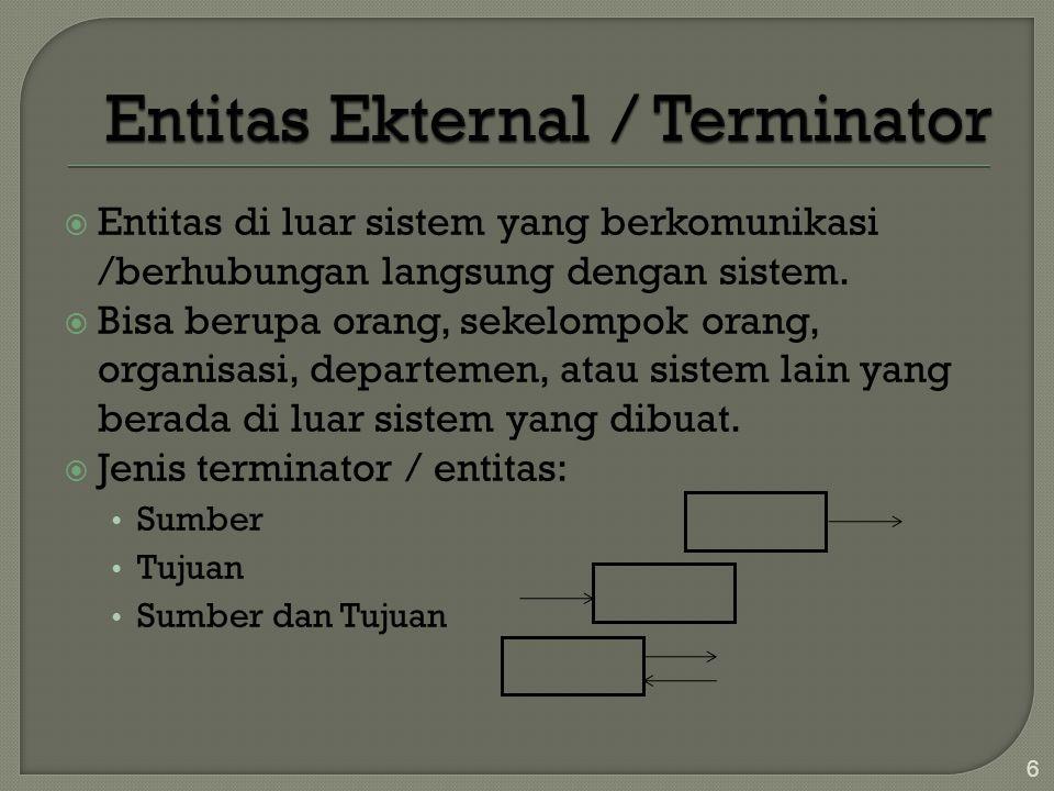  Alur data yang menghubungkan terminator dgn sistem, menunjukkan hubungan sistem dgn dunia luar  Pengembang tidak dapat mengubah isi/cara kerja, prosedur yang berkaitan dgn Terminator  Hubungan yang ada antar terminator tidak digambarkan dalam DFD 7