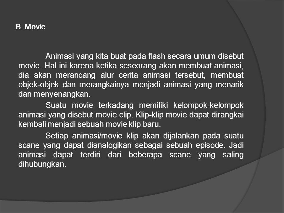 B. Movie Animasi yang kita buat pada flash secara umum disebut movie.