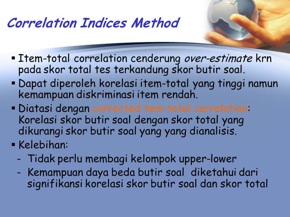 Interpretasi Diskriminasi Item Secara umum: apakah item dpt membedakan kemampuan subyek.